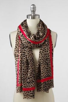Women's Cheetah Print Scarf from Lands' End