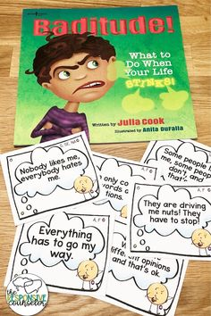Baditude by Julia Cook is the perfect story to kick off a lesson on positive thinking! This post walks you through a complete lesson plan with it Social Skills Lessons, Social Skills For Kids, Social Skills Activities, Teaching Social Skills, Counseling Activities, Social Emotional Learning, Coping Skills, Career Counseling, Life Skills