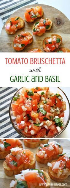 Tomato bruschetta is always a crowd favorite over the holidays, at parties or even as a quick appetizer before dinner at him. Quick and super easy to make! appetizers Tomato Bruschetta With Garlic and Basil Quick Appetizers, Appetizer Recipes, Dinner Recipes, Delicious Appetizers, Italian Appetizers Easy, Avacado Appetizers, Prociutto Appetizers, Tomato Appetizers, Mexican Appetizers