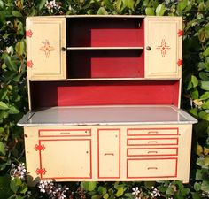 Antique Vintage Wolverine Tin Kitchen Hoosier Cabinet Red Yel Deco  40's 50's