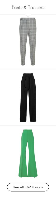"""Pants & Trousers"" by elizabethhorrell ❤ liked on Polyvore featuring pants, bottoms, trousers, slim fit trousers, slim pants, white cigarette trousers, white cigarette pants, checked trousers, black and high waisted wide leg pants"