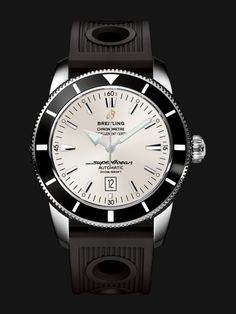 Superocean Héritage 46 watch by Breitling - stainless steel case, black bezel, white silver dial and black rubber strap