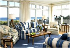 Blue Living Room Decor - How do you decorate a living room with a GREY couch? Blue Living Room Decor - What should I put on my living room walls? Blue Living Room, Furniture, Living Room Designs, Sunroom Designs, Living Room White, Coastal Living Rooms, Living Decor, Country Living Room Design, Cottage Style Living Room
