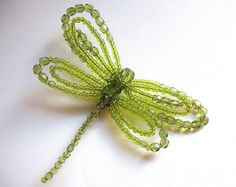 Beaded Dragonfly Brooch  in Green Summer Gift Jewelry Art Souvenir