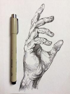 Pings Micron + Minimal blocking with grey brush pen – Art Sketches Pencil Art Drawings, Art Drawings Sketches, Sketch Drawing, Drawings Of Hands, Black Pen Drawing, Pen Sketch, Girl Sketch, Stylo Art, Arte Sketchbook