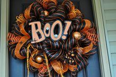 Halloween Wreath, Deco Mesh Wreath, Mesh Wreath, Orange Wreath, Black Wreath, OOAK Wreath, Halloween. $90.00, via Etsy.