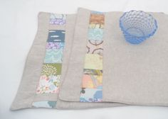 Linen placemats with patchwork detail    set of two    18 x 13    seashore inspired by BurroInteligente on Etsy