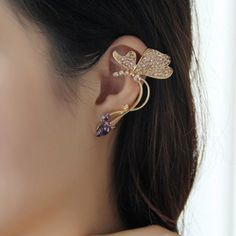 One Piece of Gorgeous Rhinestoned Butterfly Shape Clip Earring For Women