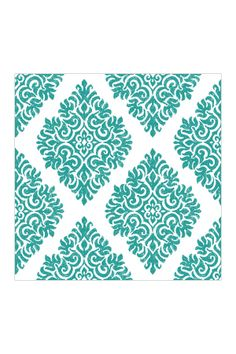 Teal French Garden Damask Removable Wall Decal