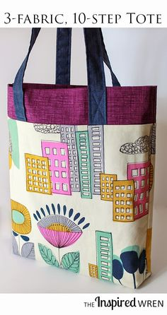 Three fabrics, ten steps, one lined tote bag tutorial, zero bottom seam -- plus a giveaway! | The Inspired Wren