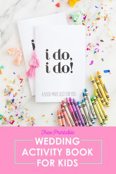 This printable wedding activity book for kids is a MUST-HAVE for your reception!… This printable wedding activity book for kids Kids Table Wedding, Wedding With Kids, Free Wedding, Diy Wedding, Wedding Reception, Wedding Stuff, Bear Wedding, Wedding Signage, Reception Table