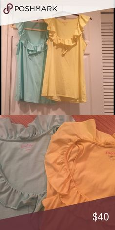 Lilly Pulitzer ruffle tops 2 Lilly Pulitzer ruffle tops. Turquoise and yellow. Size Med. Lilly Pulitzer Tops