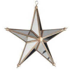 Star - Hanging w/mirror - Copper -  23*23*8 cm | Madam Stoltz - Klik for mere information