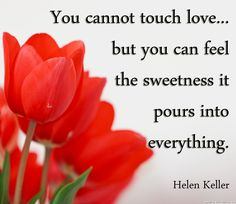 You cannot touch #love... but you can feel the sweetness it pours into everything. Helen Keller #Quote