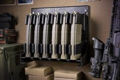 Secure closet thought for organized Mag Storage Solutions 5 56 223 Rifle Magazine Holder Rack New Magpul AR 15 Ammo Storage, Weapon Storage, Storage Rack, Airsoft Storage, Tactical Equipment, Tactical Gear, Gun Closet, Room Closet, Magazine Storage