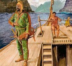 Scythian Archer on board a Persian vessel, being steered by a Greek.