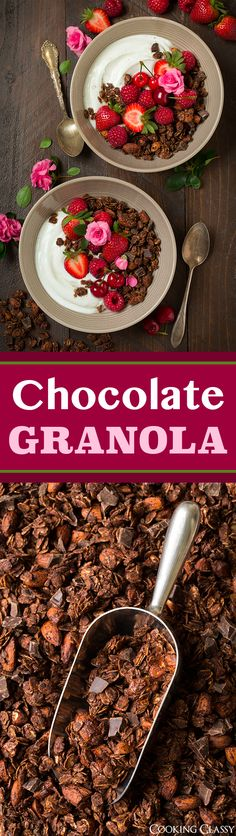 Chocolate Almond Granola - chocolate for breakfast!!! This stuff is addictive and it's made with healthy ingredients (and just a little brown sugar which you could probably sub coconut sugar). #FisherUnshelled #spon @fishernuts