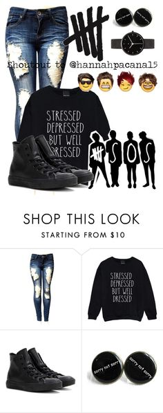 """""""Shoutout to @hannahpacana15"""" by kayleerog ❤ liked on Polyvore featuring Converse and I Love Ugly"""