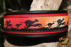 dogs-art GREYHOUND Martingale Leather Collar  by dogsartcollars
