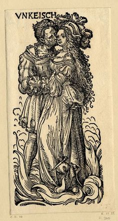 WL male and female figure embracing, flames rising at their feet; from a series of seven woodcuts.  c.1510  Woodcut