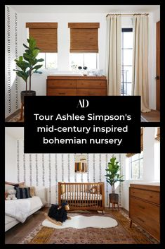 The singer and her husband, Evan Ross, used midcentury-inspired furniture and hues of rust for a space their new baby can grow into. The couple leaned into the bohemian and eclectic vibe they have going on through the rest of their home to bring the nursery to life 😍 #nursery #windows #curtains #cribs #rug #plant #sofa #changingtable #bohemian #midcentury #furniture Potter Barn Kids, Mid Century Nursery, Evan Ross, Faux Sheepskin Rug, Bohemian Nursery, Ashlee Simpson, Architectural Digest, Really Cool Stuff, Rust