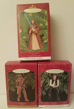 Lot 3 Star Wars Hallmark Keepsake Ornaments Chewbacca Han Solo Obi-Wan Kenobi