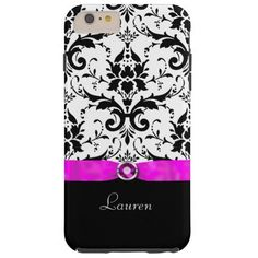 Black Damask Pink Jewel Personalized Barely There iPhone 6 Plus Case by Mega Case