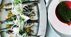 Australian Gourmet Traveller recipe for sardines with fennel and orange. Grilled Sardines, Sardine Recipes, Char Grill, White Wine Vinegar, Orange Recipes, Fennel Seeds, Just Cooking, Serving Plates, Seafood Recipes