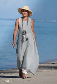 This IS THE LOOK I WANT! Blue linen gauze tunic with an off white harem-pant