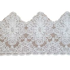 2 Yard Cotton Floral Eyelet Edge Lace Trim Ribbon Scallop Edging Cream Embroidered Fabric Vintage Knitting Tulle Border for Wedding Bridal Veil Dress Extender Curtain Valance Accessories 6 inch Wide