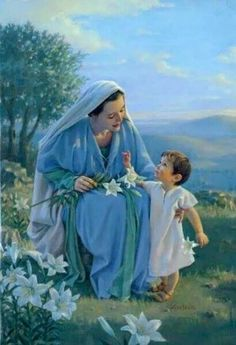 Little toddler Jesus is giving His beautiful Mother Mary a white Lily! The lily's like this we often associate to Easter!