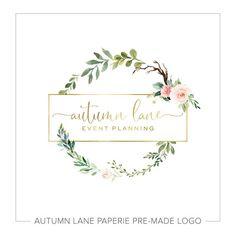 Premade Logos by Autumn Lane Paperie Design Logo, Custom Logo Design, Custom Logos, Design Web, Brand Design, Graphic Design, Logo Floral, Logo Couronne, Logos Design