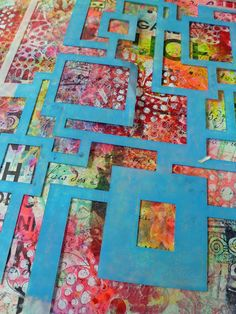 The Labyrinths of Thought art journal page- tutorial by Frieda Oxenham with StencilGirl stencils