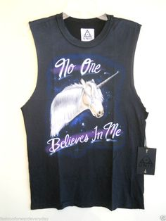 """Unif Unicorn """"NO ONE BELIEVES IN ME"""" Unisex Tank Top T-Shirt Size Small MSRP $65 #Unif #GraphicTee"""