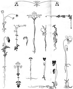 Art Nouveau flowers. - Some of these are perfect for my planned spine piece.