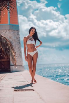 A chic and understated beach babes dream. The subtle sweetheart bust is enhanced with a unique trend-setting high-neck criss cross detailing reminiscent of hammocks on the beach! White Bikinis, Beach Babe, Wanderlust, Chic, Swimwear, Fashion, Shabby Chic, Bathing Suits, Moda