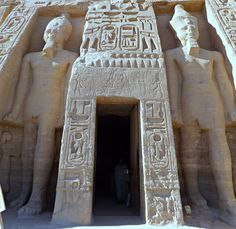 """https://flic.kr/p/ThSDdj   Temple of Hathor, Abu Simbel, Egypt 2016   Two gigantic figures of Ramses II stand either side of the entrance to this beautiful temple. As always, his left leg is taking a step forward. This is the origin of the command still heard in armies all over the world today """"By the left Quick March"""". The ancient Egyptians believed that the left side of the body was the most important side because that was where the heart was situated."""