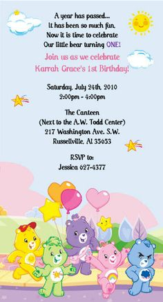 Care Bears Birthday Invitations by SuzansDesigns on Etsy, $0.50
