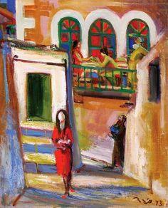 Eliyahu Sigard (Israeli, born in Lithuania, 1901-1972) - Figures in Neve Tzedek, 1973