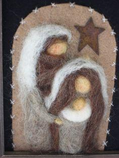 Items similar to Nativity - Felted Nativity - Fiber Art Nativity - Waldorf Nativity - Framed Nativity on Etsy Christmas Nativity Scene, Felt Christmas, Christmas Crafts, Christmas Ornaments, Nativity Scenes, Felted Wool Crafts, Felt Crafts, Wool Needle Felting, Wet Felting