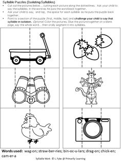 In this #Syllable Work Package, #Kindergarten,#Gradeone and Grade two children will practice counting, blending, isolating, segmenting and deleting syllables.  Work as a class, in literacy groups, or as individuals. Have fun! Check it out now!  (available in Print Letters or Sassoon Font) Kindergarten Spelling Words, Counting Worksheets For Kindergarten, Phonological Awareness Activities, Phonological Processes, Jolly Phonics, Phonics Activities, Grammar Lesson Plans, Consonant Blends Worksheets, Syllable