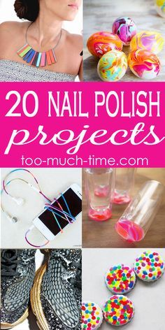Christmas DIY: 20 nail polish craft 20 nail polish crafts and projects from Too Much Time on My Hands #christmasdiy #christmas #diy