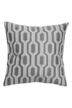Jacquard-weave cushion cover: Cushion cover with a jacquard-weave pattern on the front, solid colour cotton back and concealed zip.