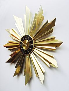 Rare Mid Century Modern Starburst Wall Clock By Welby Brilliant Modernist Minimalist Design Sunburst With Sun Rays