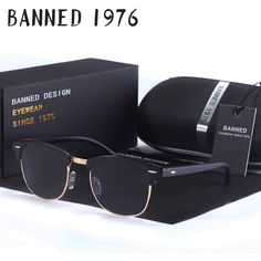 cool BANNED high quality Polarized men women Sunglasses Classic club Brand Sun glasses Coating Lens Driving Shades with original box 14.6 $