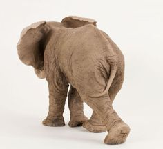 Ceramic Wild Animals and Wild Life sculpture by sculptor Lesley Prickett titled: 'Young African Elephant (Small Elephant Calf statuette)' - Artwork View 3