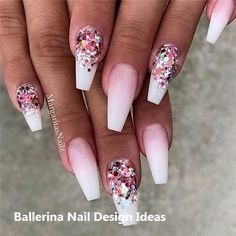Ombre Coffin Nail Design is one of women's favorite nail art designs. The length and shape of coffin nails can complete bold design and color very well, of course, gradual change is also easy to achieve in the coffin nails. Nails Yellow, White Nails, Pink Nails, Glitter Nails, Pink Glitter, Glitter French Nails, Blue Nail, Pink Sparkly, French Manicure Nails