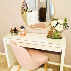 I love this ikea vanity table and gold mirror with the blush chair! Great tips on how to decorate a desk or vanity and glam up your home office, closet or bathroom! Sure makes getting ready a bit more fun if you have a pretty area to sit and do makeup and Bedroom Makeup Vanity, Makeup Table Vanity, Vanity Room, Vanity Ideas, Makeup Vanities, Makeup Rooms, Bathroom Vanities, Vanity Set, Makeup Vanity Desk