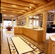 nice space Log Home Kitchens, Ceiling Design, Log Homes, Kitchen Design, Walls, Flooring, Space, Furniture, Home Decor
