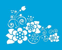 """Amazon.com: 8.3"""" x 6.8"""" (21cm x 17cm) Reusable Flexible Plastic Stencil for Graphical Design Airbrush Decorating Wall Furniture Fabric Decorations Drawing Drafting Template - Vintage Flowers Leaves Pattern"""